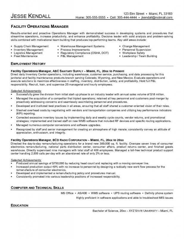 Elegant Sample Facilities Management Resume Fieldstation Co For Facilities Management Resume
