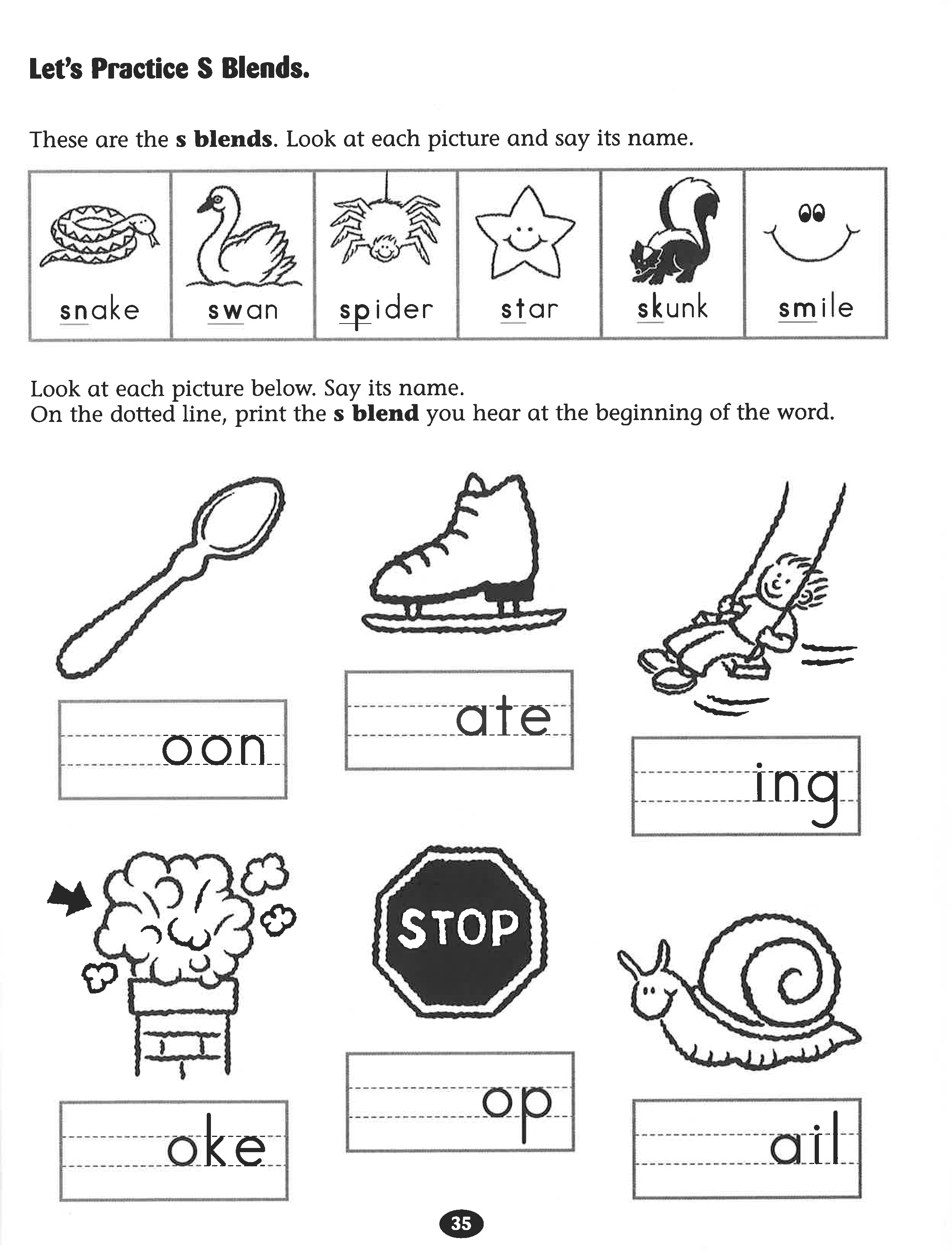 Let S Practice S Blends Worksheet