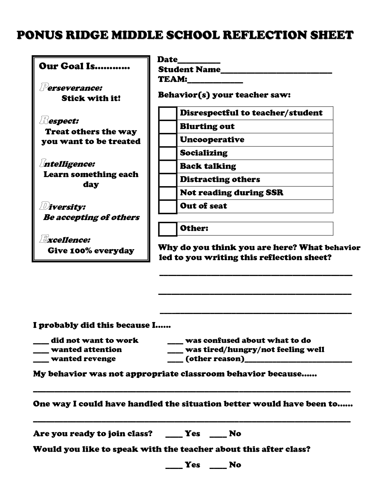School Reflection Sheet Ponus Ridge Middle School