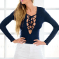 Lace bodysuit styles  Create a sultry look with the help of this navy blue laceup knit