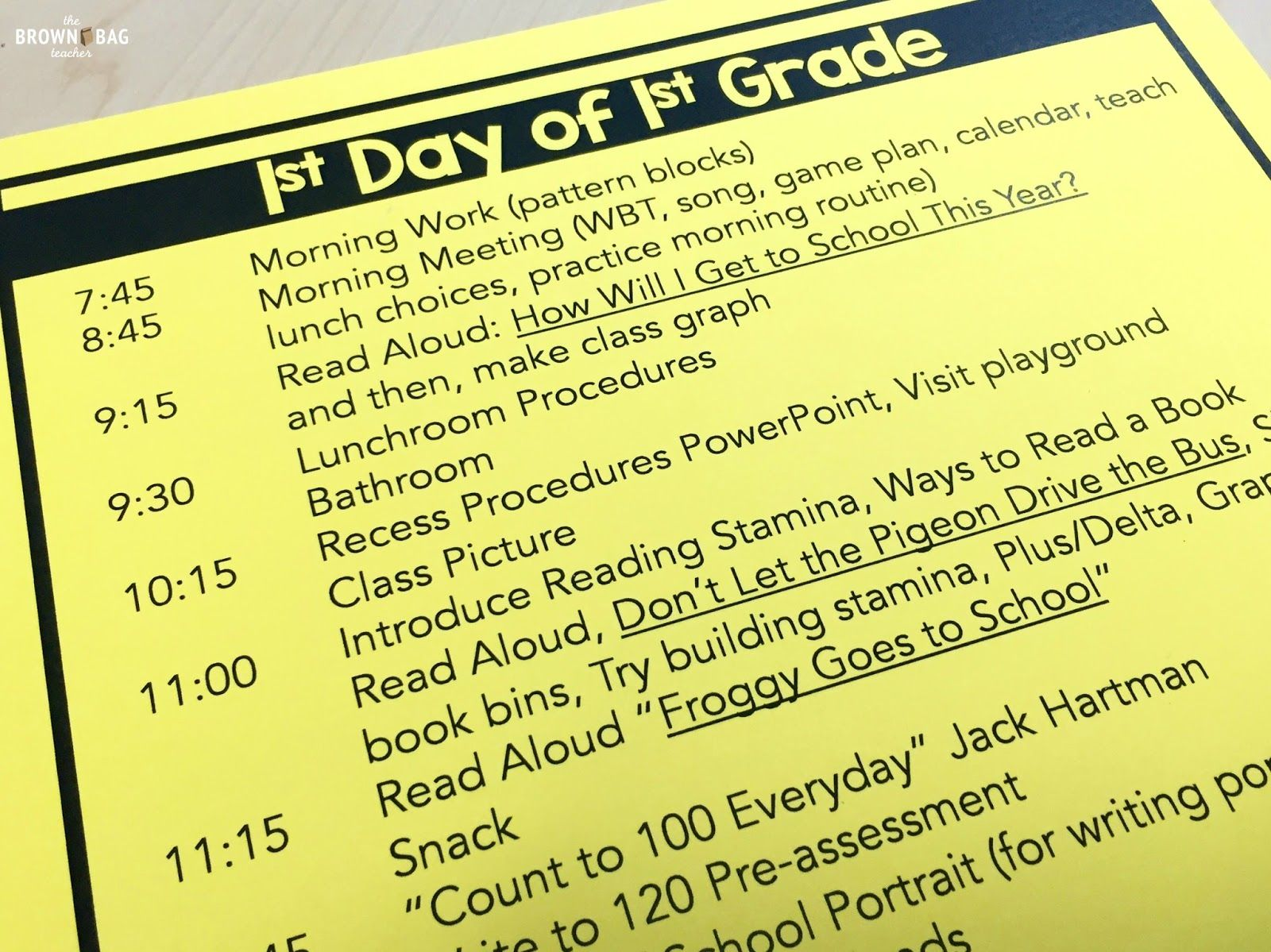 The First Day Of 1st Grade Free Lesson Plans And Activity