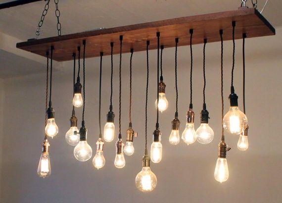 Urban Chandy Reclaimed Barn Wood Chandelier With Vintage Edison Bulbs 12 X48 28