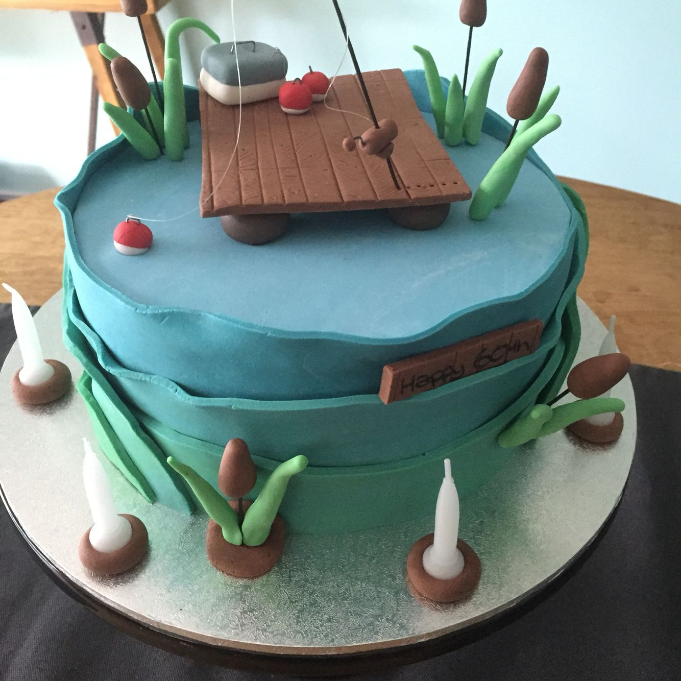 Mens Gone Fishing Cake For A 60th Birthday Made By Treska