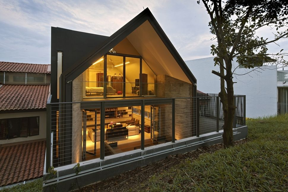 Gabled Roof Jazzes Up Minimalist Y House In Singapore