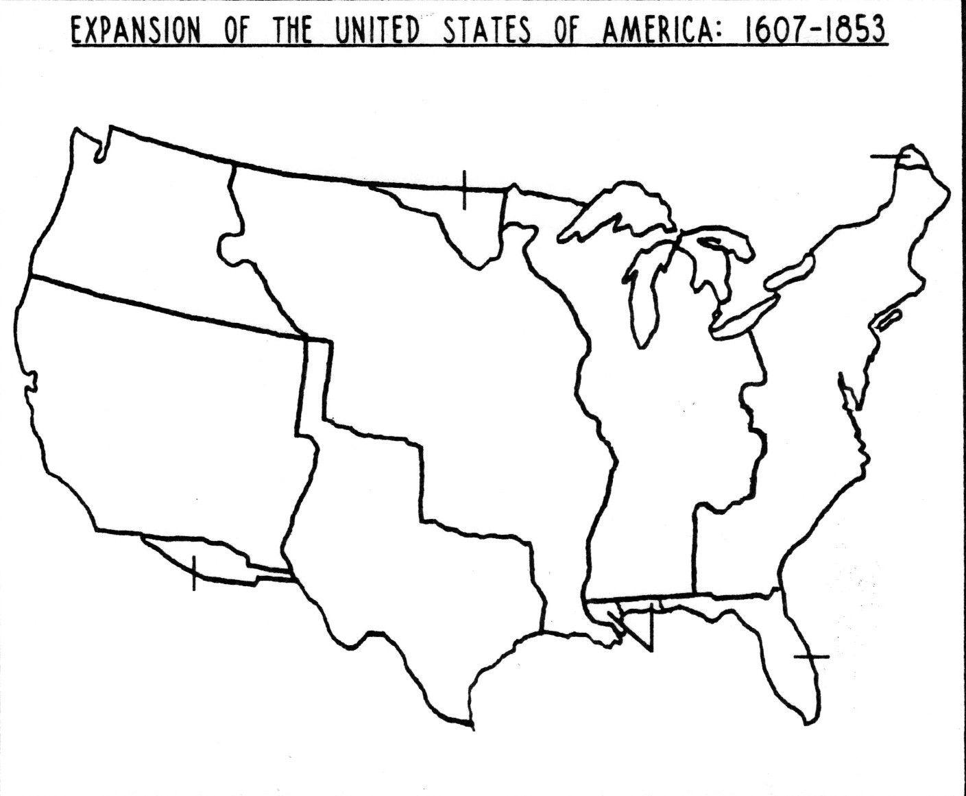Blank Westward Expansion Map Teaching