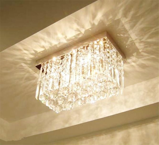 Modern Fashion Glass K9 Crystal Chandeliers Rectangle Ceiling Light Living Room Aisle Bedroom Chandelier Rain Drop Design Lamp