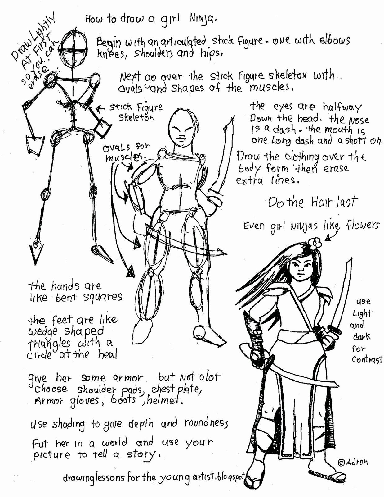 How To Draw Worksheets For The Young Artist How To Draw A Girl Ninja Free Worksheet