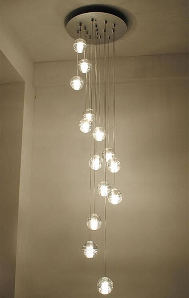 Modern Stairwell led chandelier lighting large bubble crystal ball