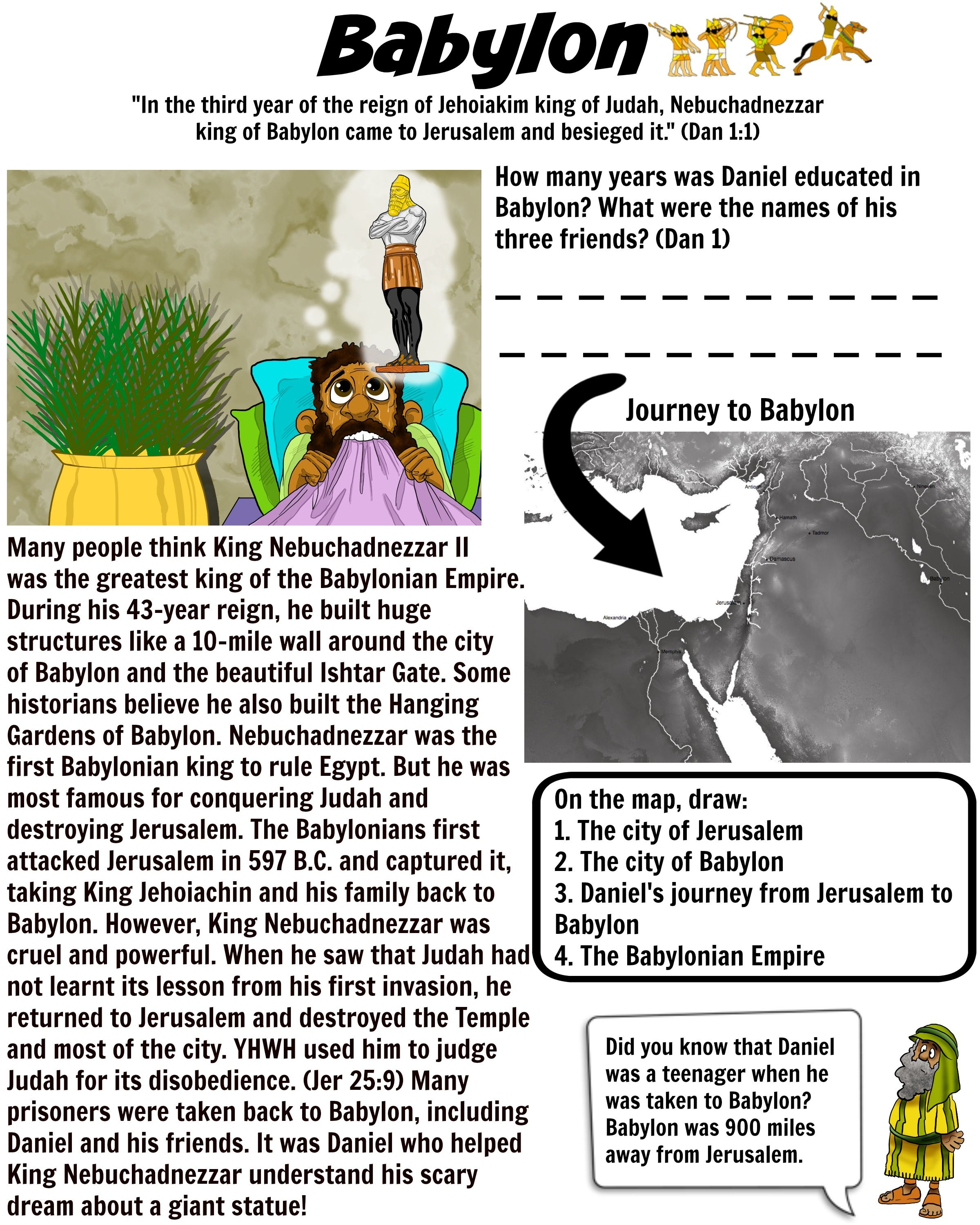 Teach Your Children About King Nebuchadnezzar Of Babylon Babylon Worksheet 2 Free Download