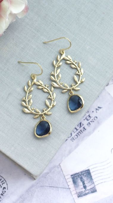 Laurel Wreath Earring Dark Blue Something Shire Chandelier Earrings Navy Wedding Bridesmaid Gift
