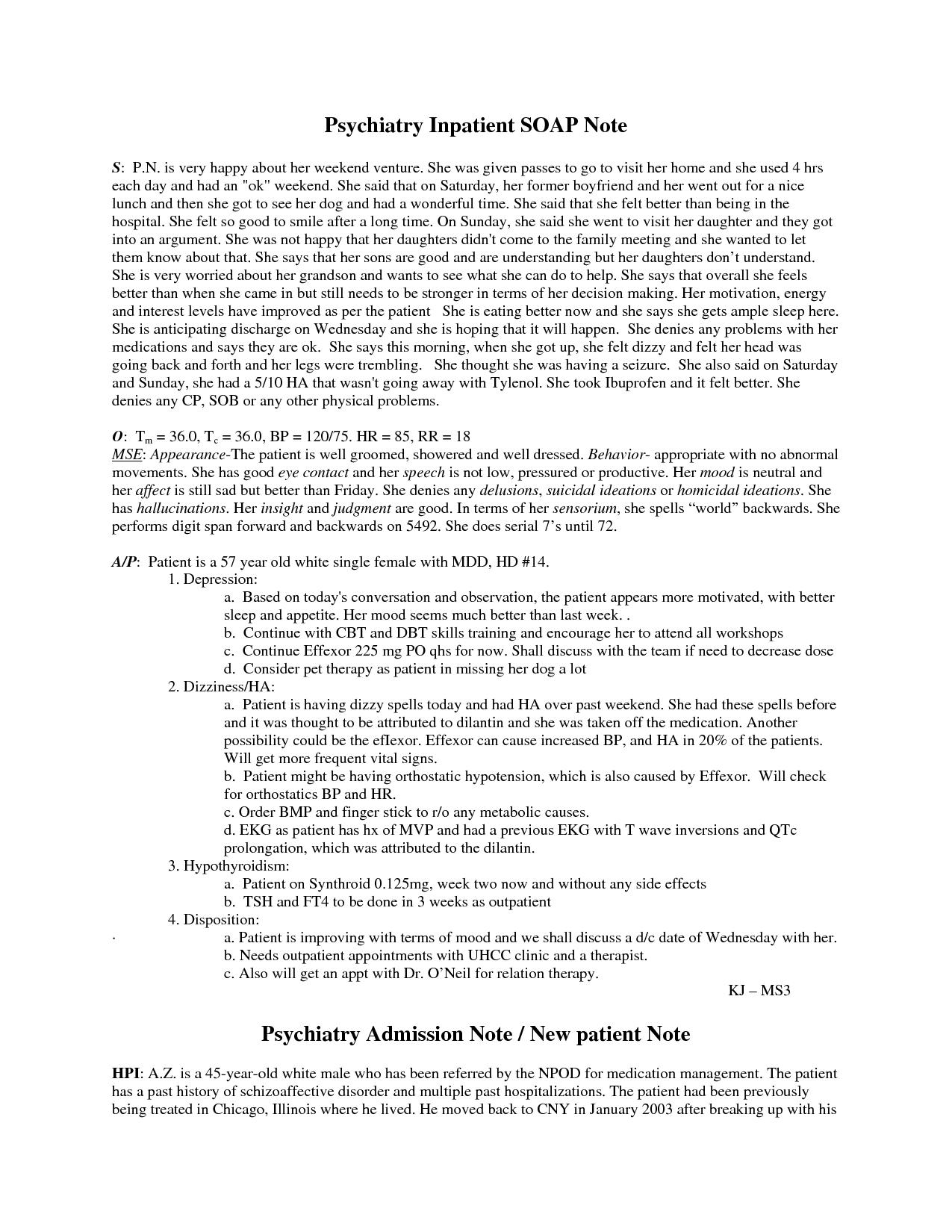 Examples Mental Health Progress Notes
