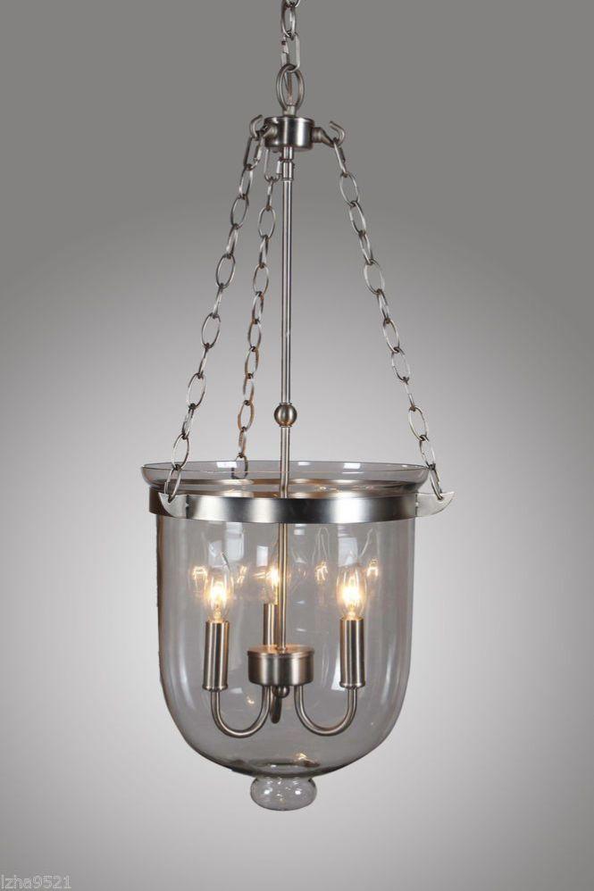 Nickel Finish Bell Shaped Clear Glass Jar Shade Chandelier Pendant Hundi Lantern