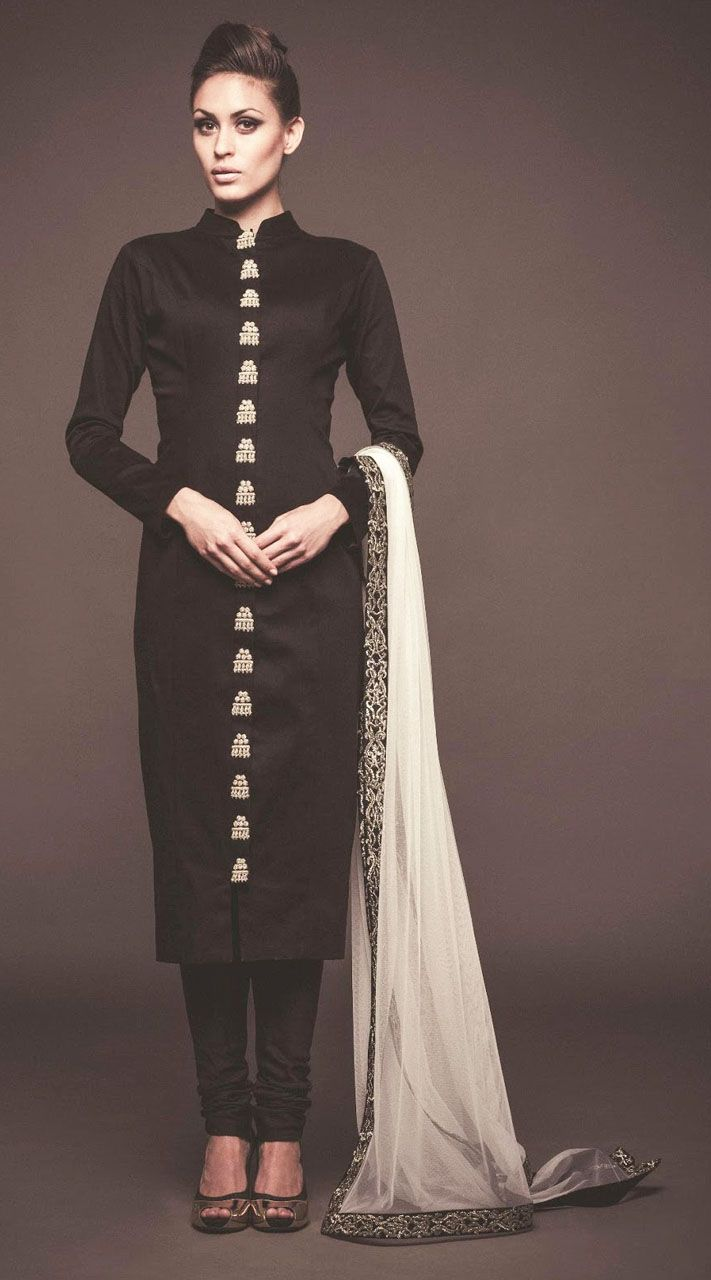 Exclusive Black Raw Silk And Net Exclusive Straight Fit Kameez