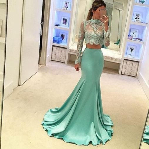 Two piece sets are perfect for mermaid prom dresses!