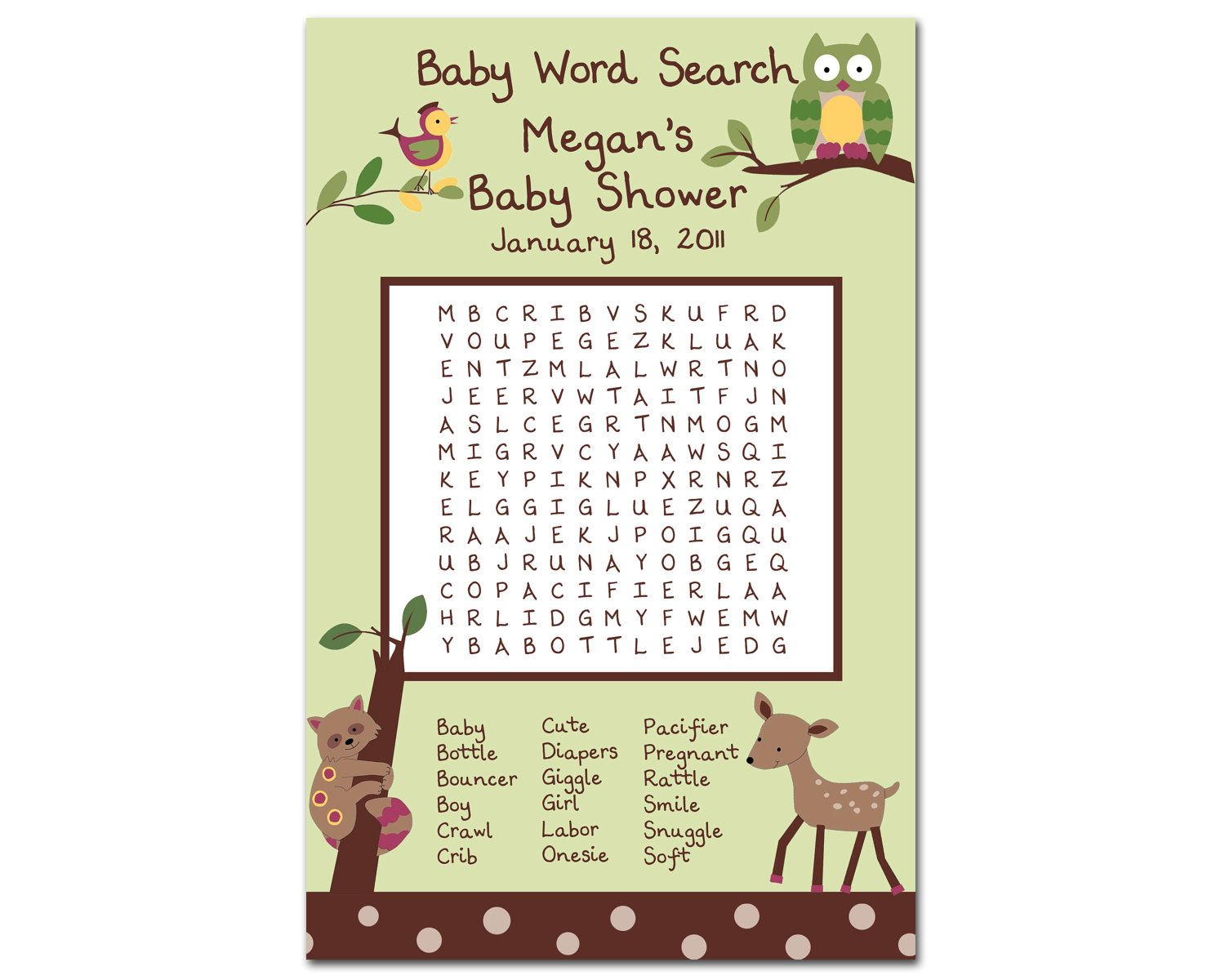 Baby Shower Word Search Printable Baby Shower Word Scramble X