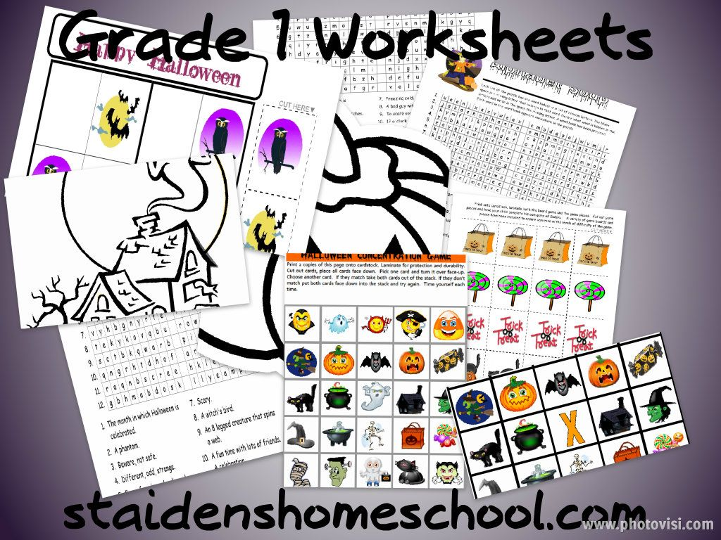 Grade 1 Free Halloween Worksheets Printable Games And
