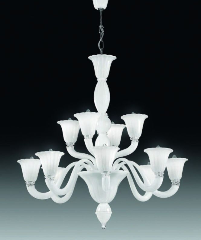 Cristalstrass Canada Laguna 12 6 Lights Murano Chandelier White Collections
