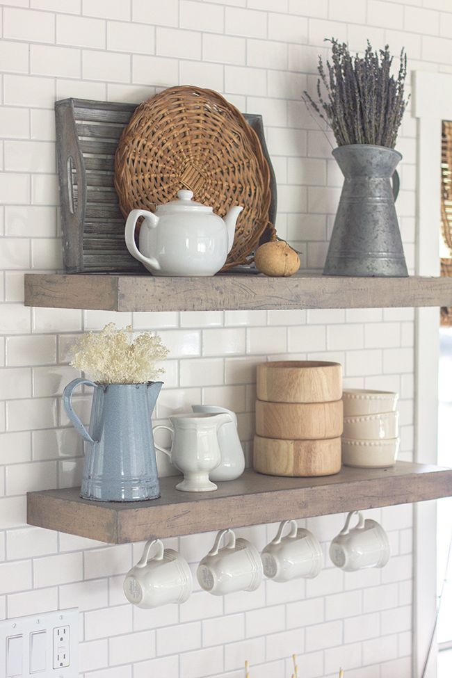 spring home tour a giveaway kitchen shelves modern farmhouse and shelves on kitchen decor open shelves id=93803