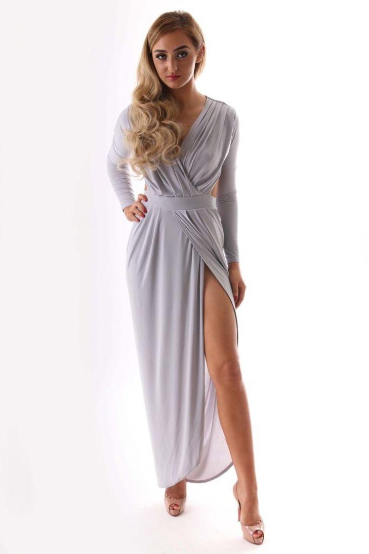 GiGi Grey Slinky Material Long Sleeved Backless Drape Maxi Dress