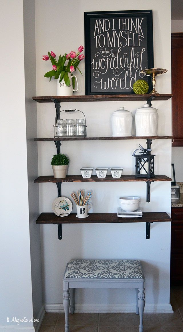 how to build open stained shelves empty wall kitchen essentials and open shelving on kitchen decor wall ideas id=38774