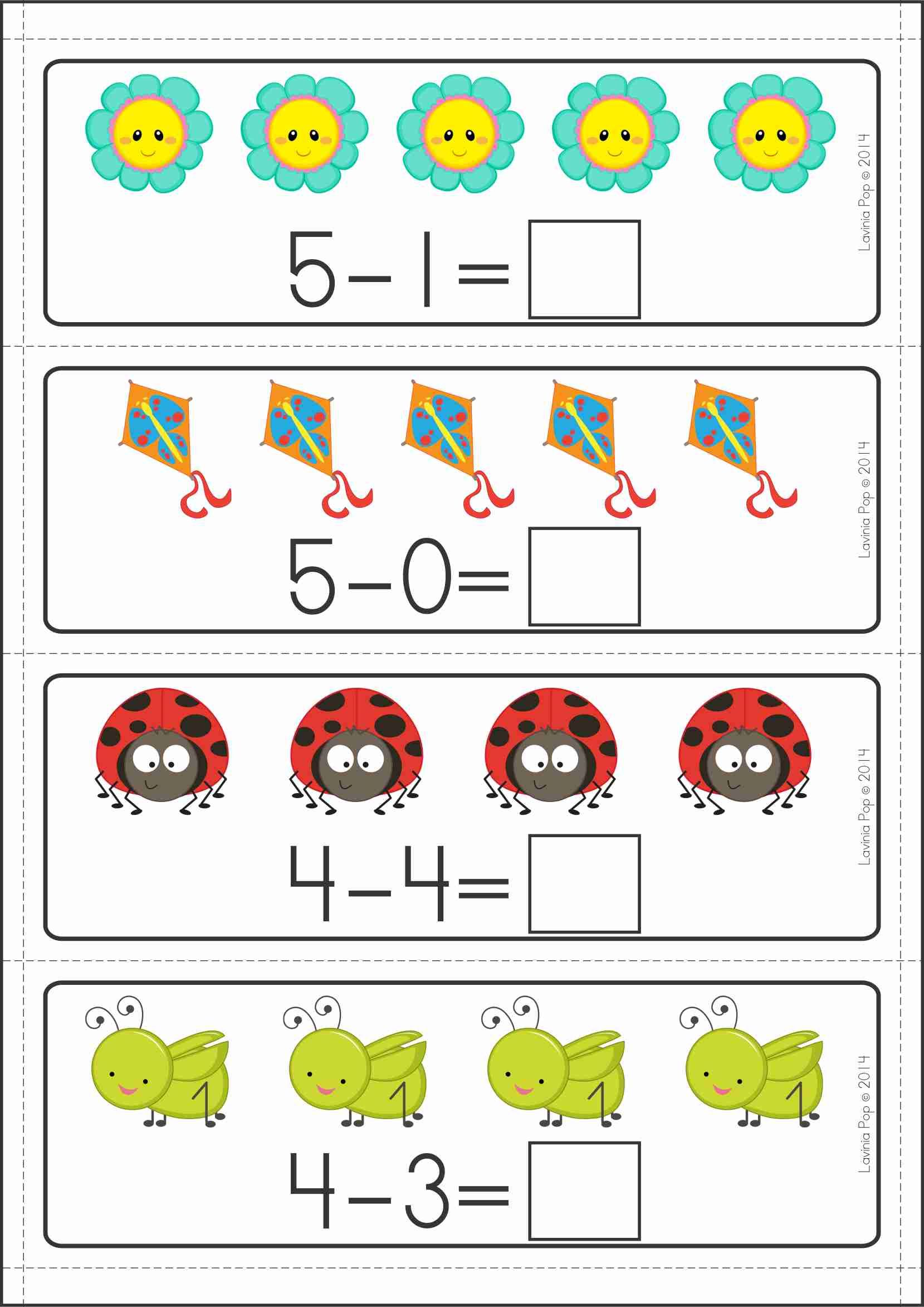 Space Theme Math Worksheet Kindergarten Subtraction