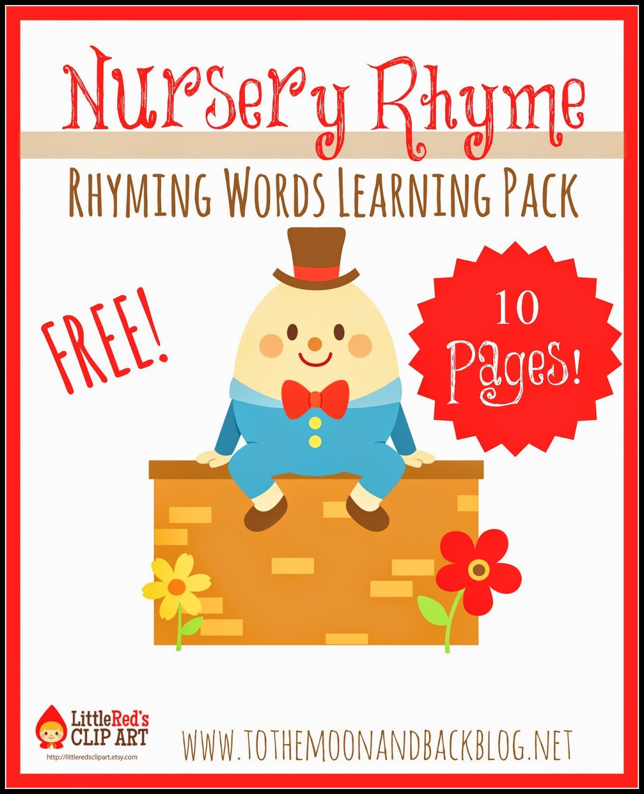 Free Nursery Rhyme Rhyming Words Pack Not Montessori But Can Adapt