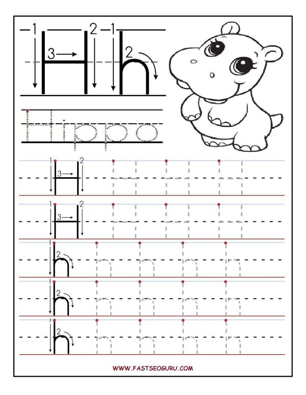 Printable letter H tracing worksheets for preschool ...