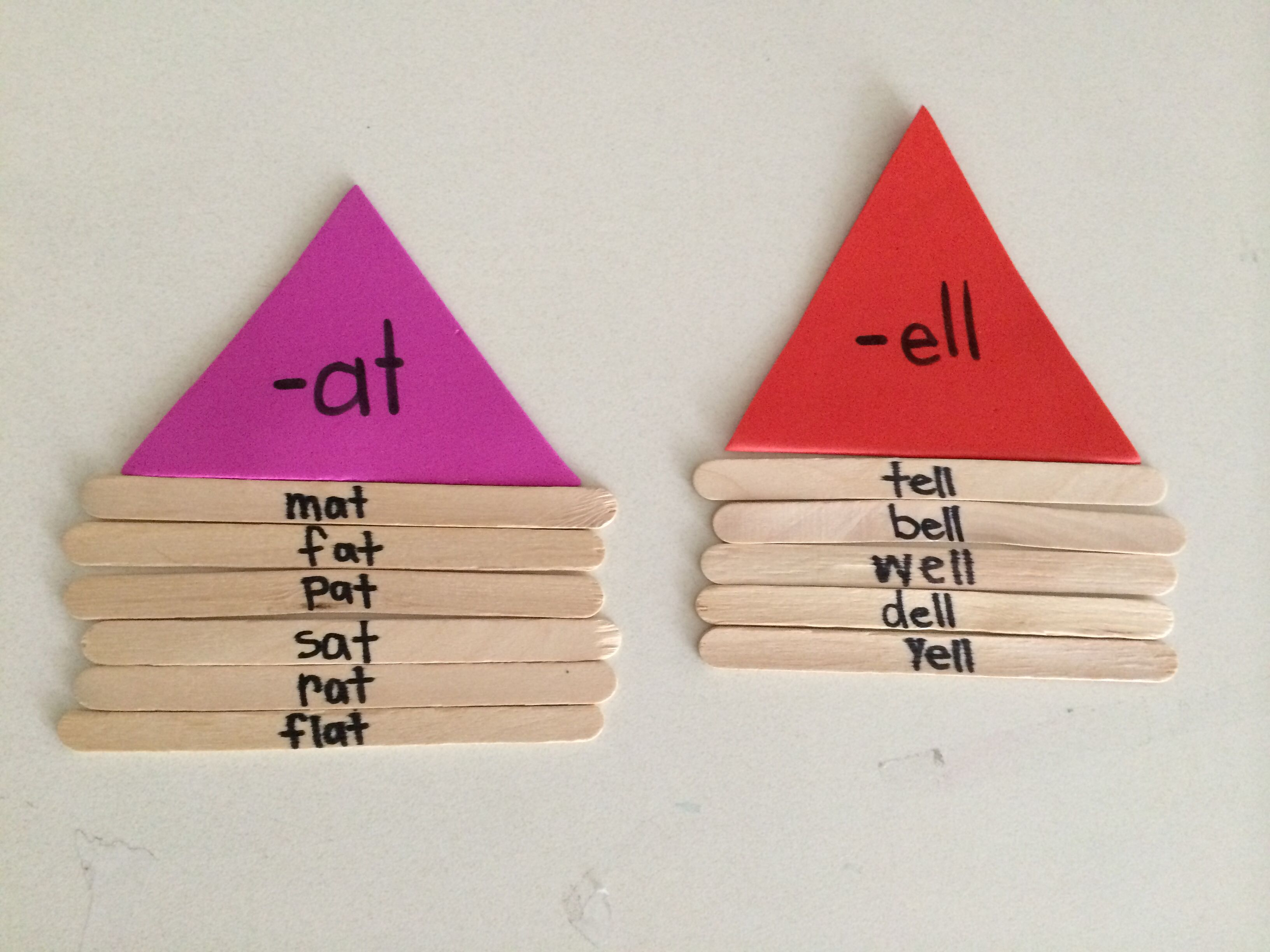 Word Family Houses Using Popsicle Sticks You Can Use Different Colored Foam Triangles For Each