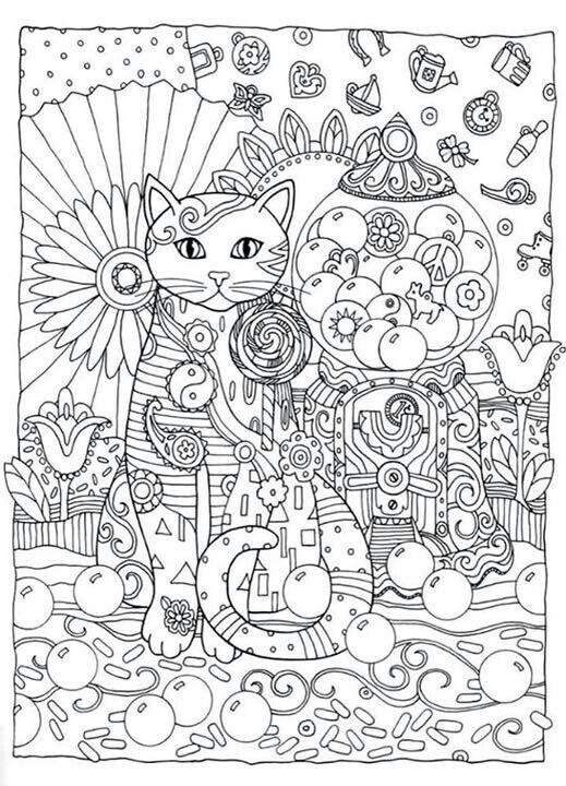 Cat Abstract Doodle Zentangle Paisley Coloring Pages