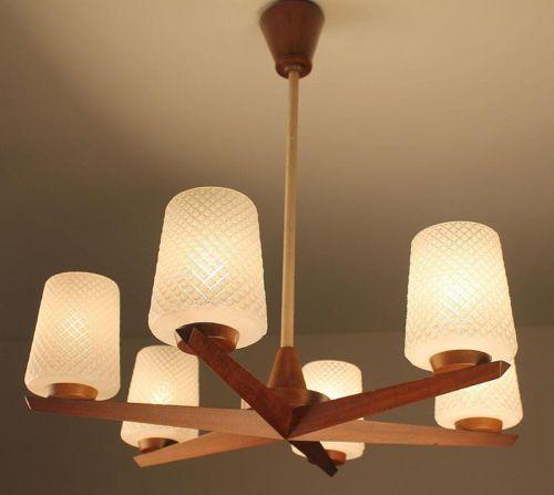 Danish Sputnik Light Lamp Chandelier Mid Century Teak Glas 50s 60s Nelson Eames
