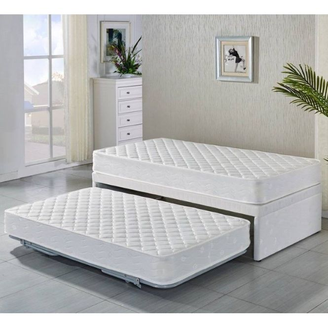 Single White Bed Frame With Trundle 2 Mattresses Kids Twin Beds