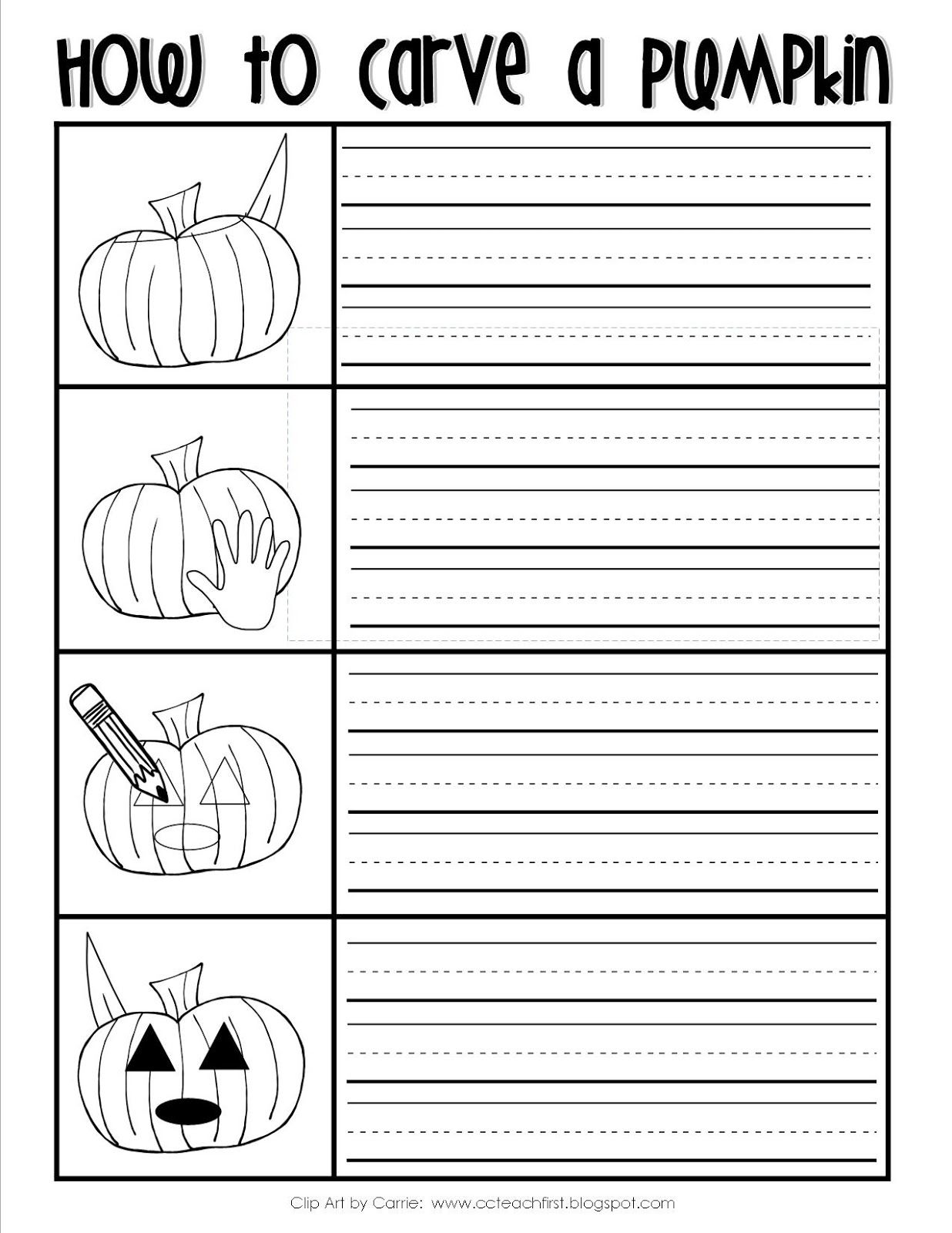 How To Carve A Pumpkin Writing Sheet Freebie By C Amp C Teach