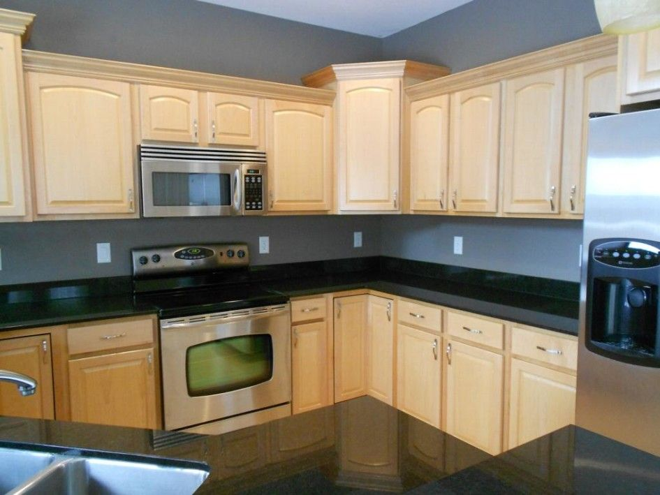 Kitchen, Natural Maple Kitchen Cabinet With Stainless ... on Natural Maple Cabinets With Black Granite Countertops  id=54465