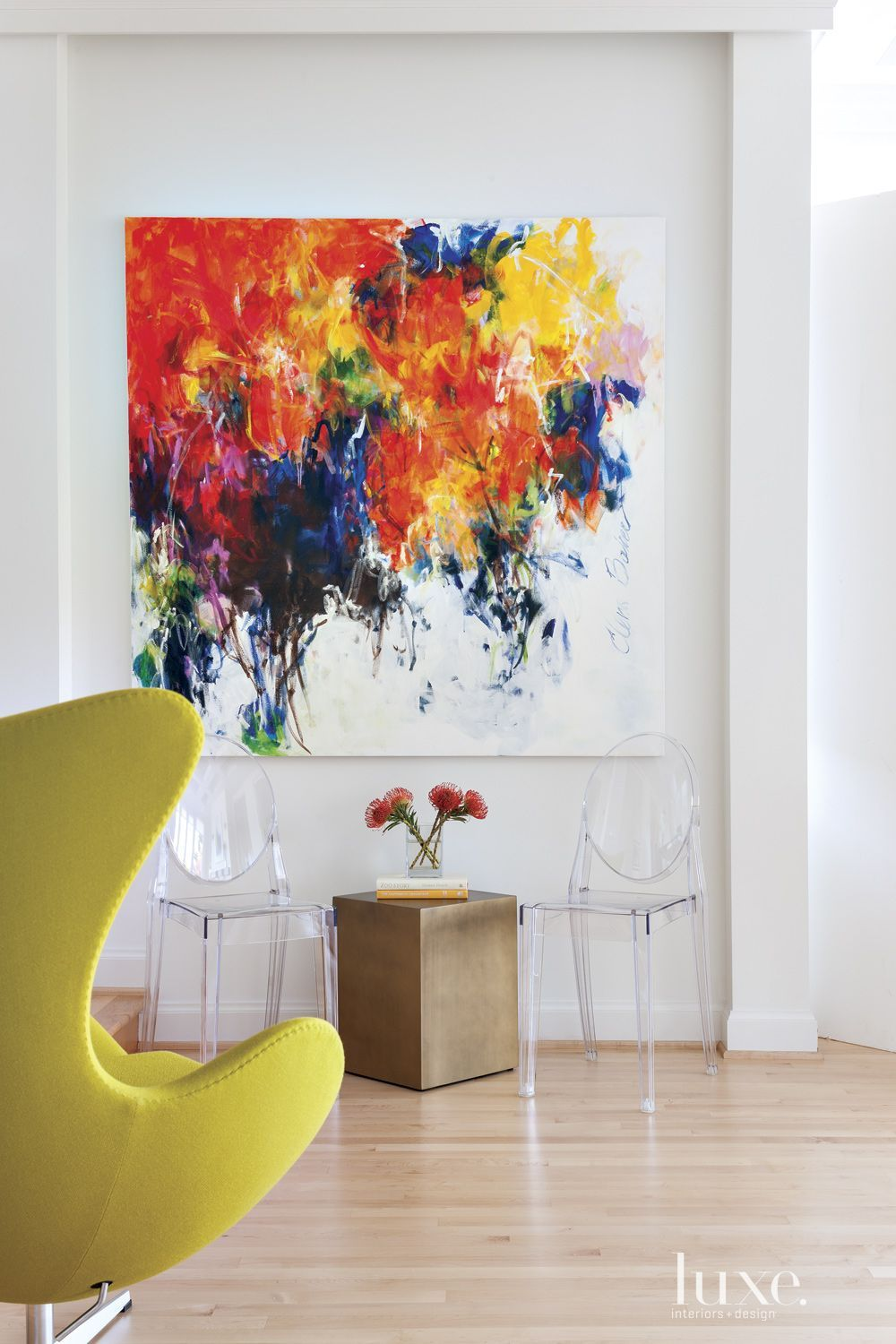 in the living room white walls showcase a vibrant oil on modern acrylic paintings for living room id=75438