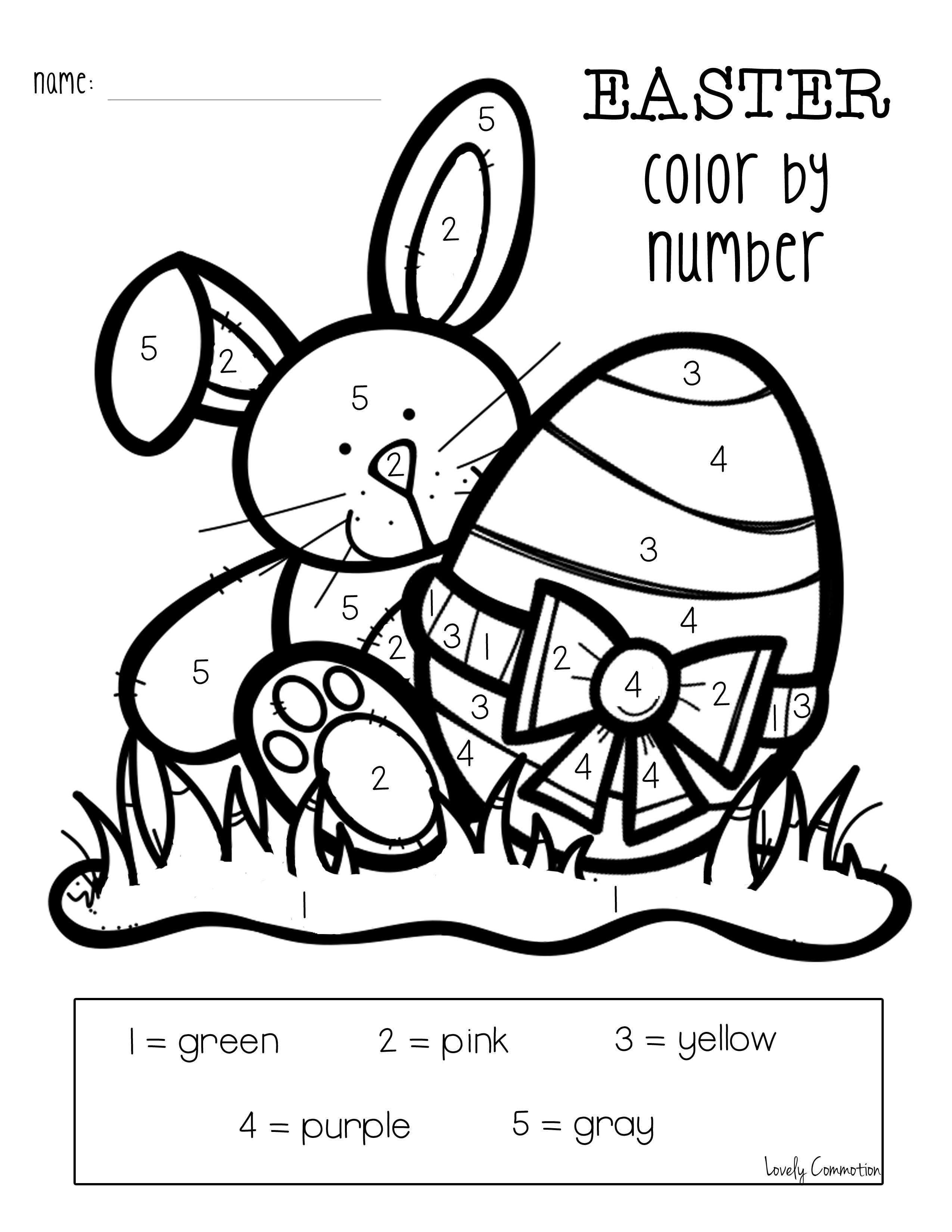 Easter Color By Number Freebie