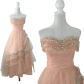 Vintage s pink u silver strapless gown wedding bridal from