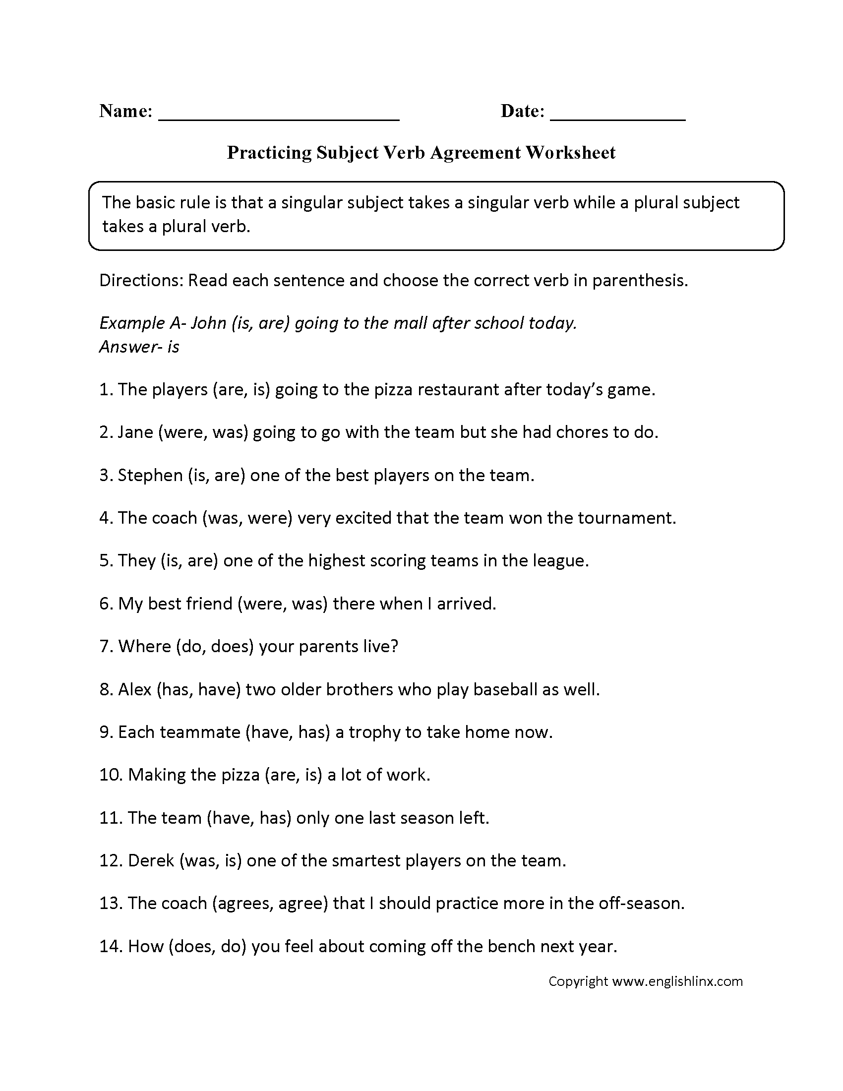 Subject Verb Agreement Worksheet Advanced Level