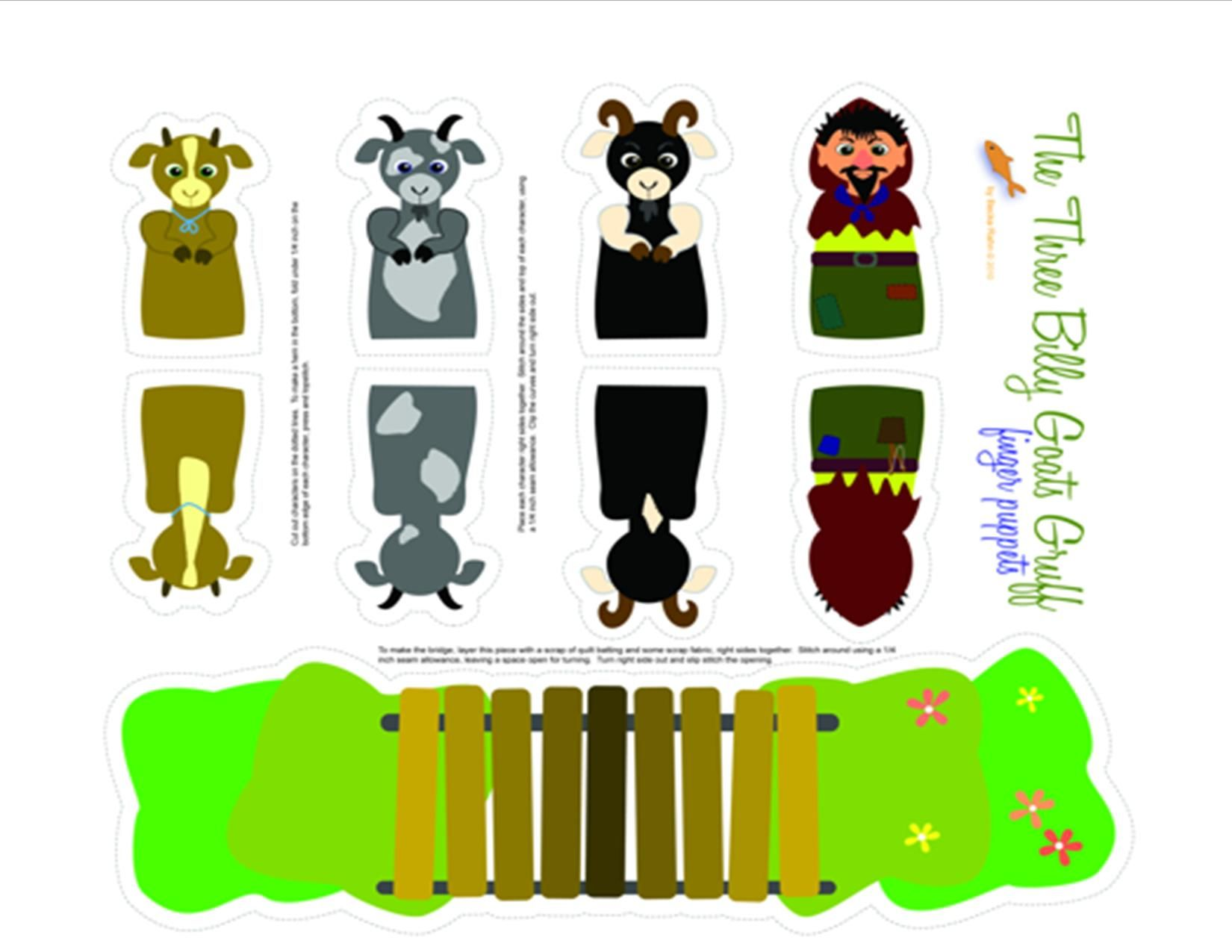 Three Billy Goats Gruff Printable Puppets