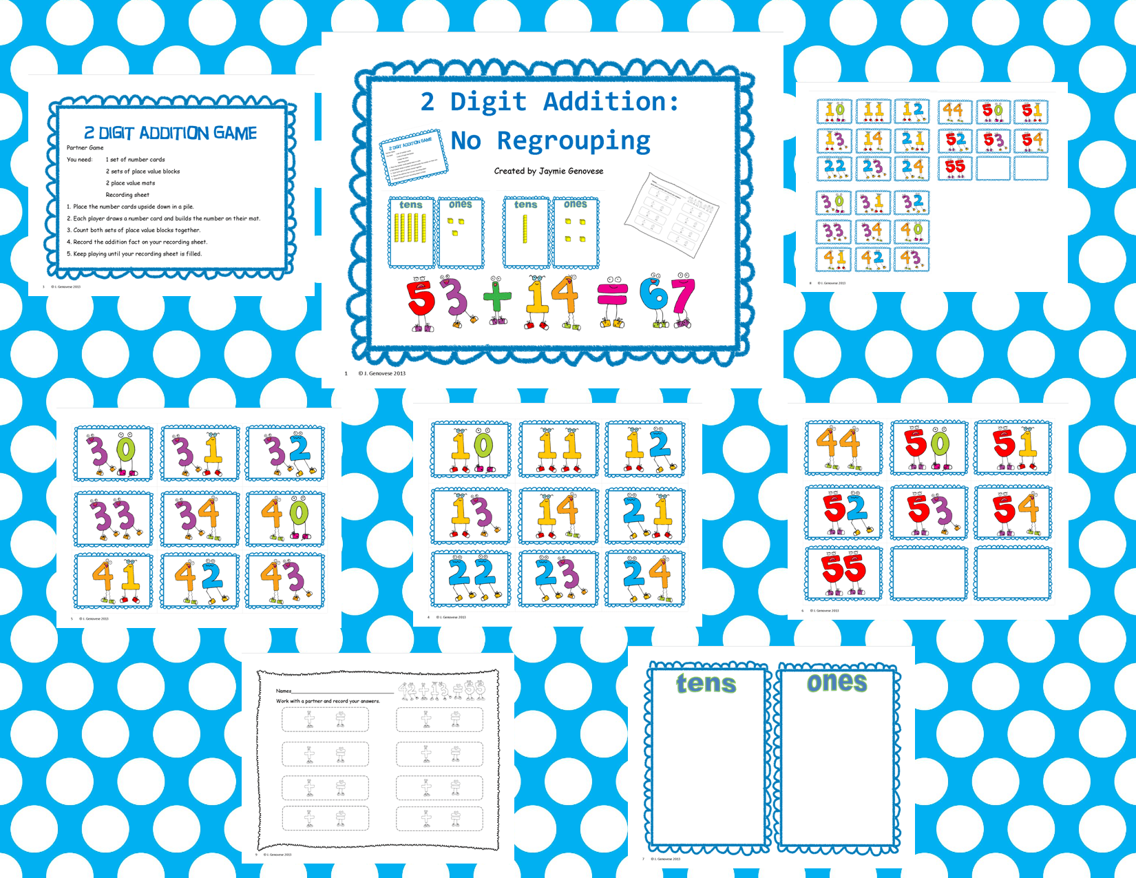 Two Digit Addition No Regrouping 1 Nbt 4 And 2 Nbt 5