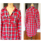 Red and black flannel cardigan  Plaid flannel over sized shirt  D Tops and Top top