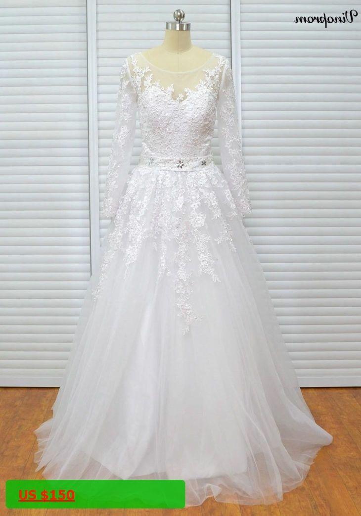 Champagne ALine Lace Wedding Dresses Long Sleeves Beach Boho