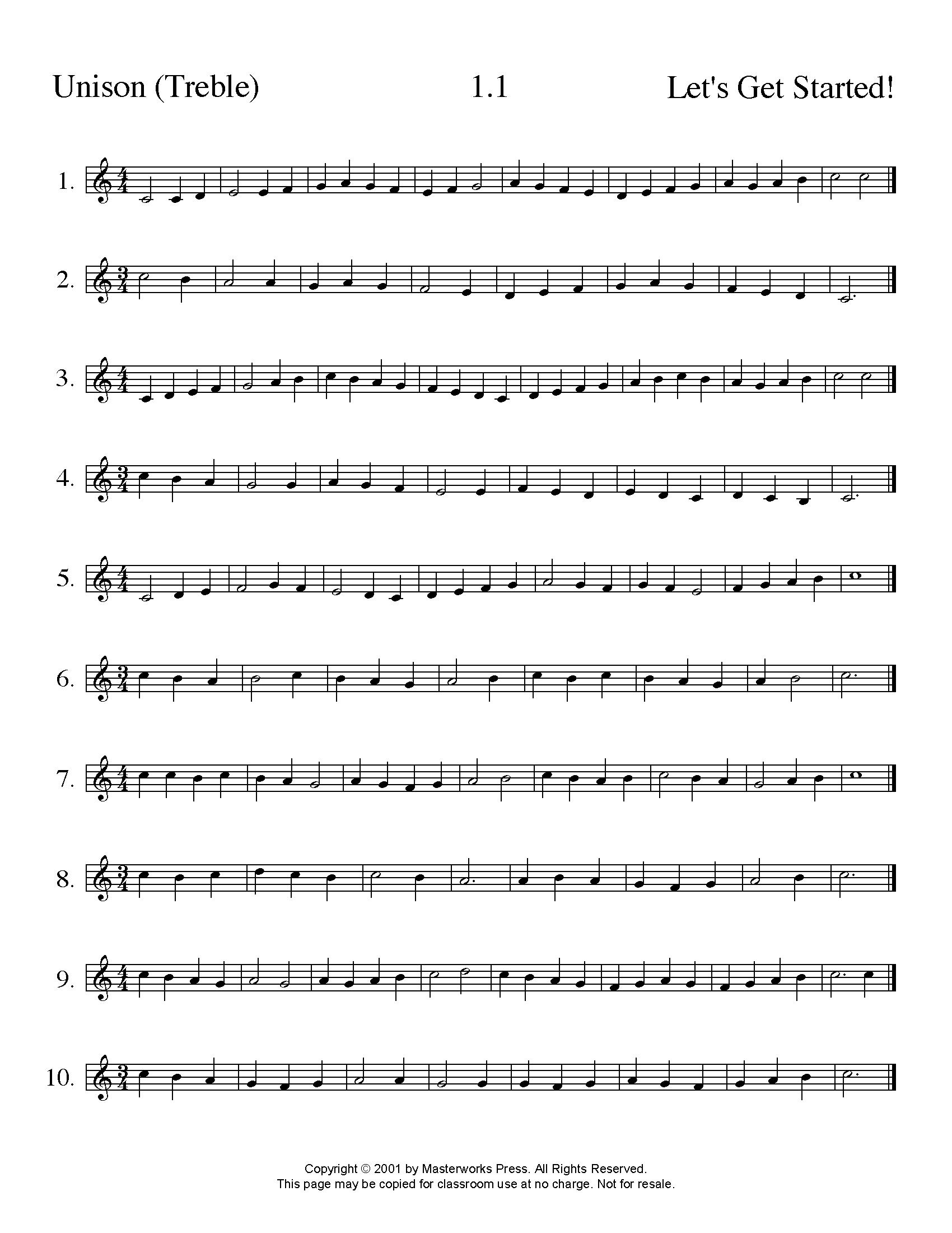 Free Sight Singing Exercises