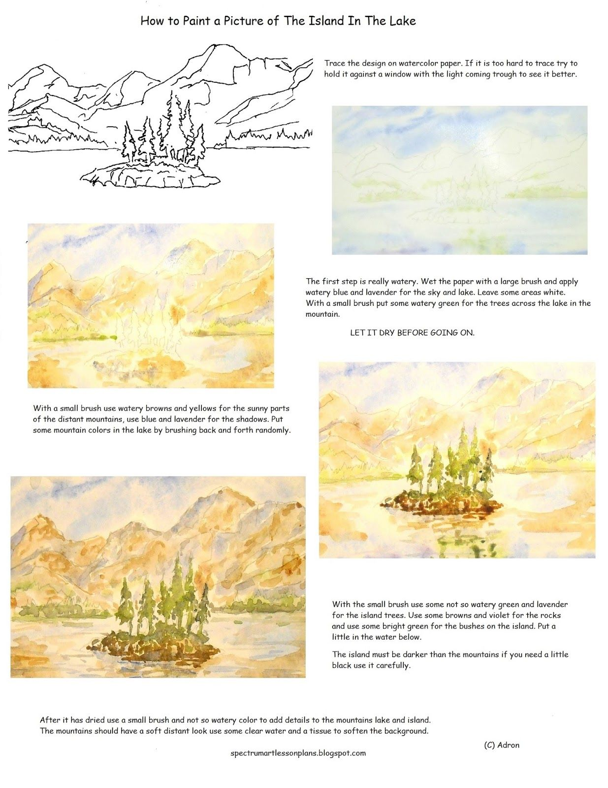 A Short Art Lesson With A Printable Worksheet To Teach How To Paint Mountain Lake With An Island
