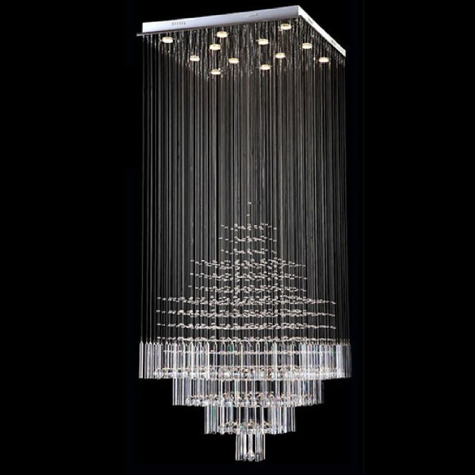 Byb Modern Chandelier Rain Drop Lighting Square Crystal Ball Fixture Pendant Ceiling Lamp D80