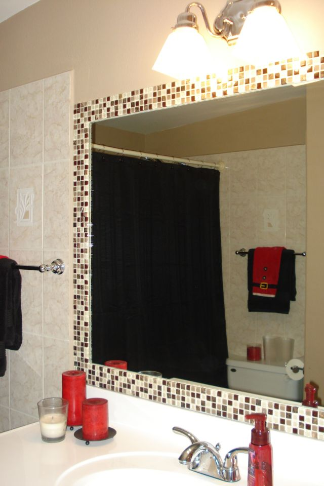 Simple way to dress up a plain bathroom mirror d tile