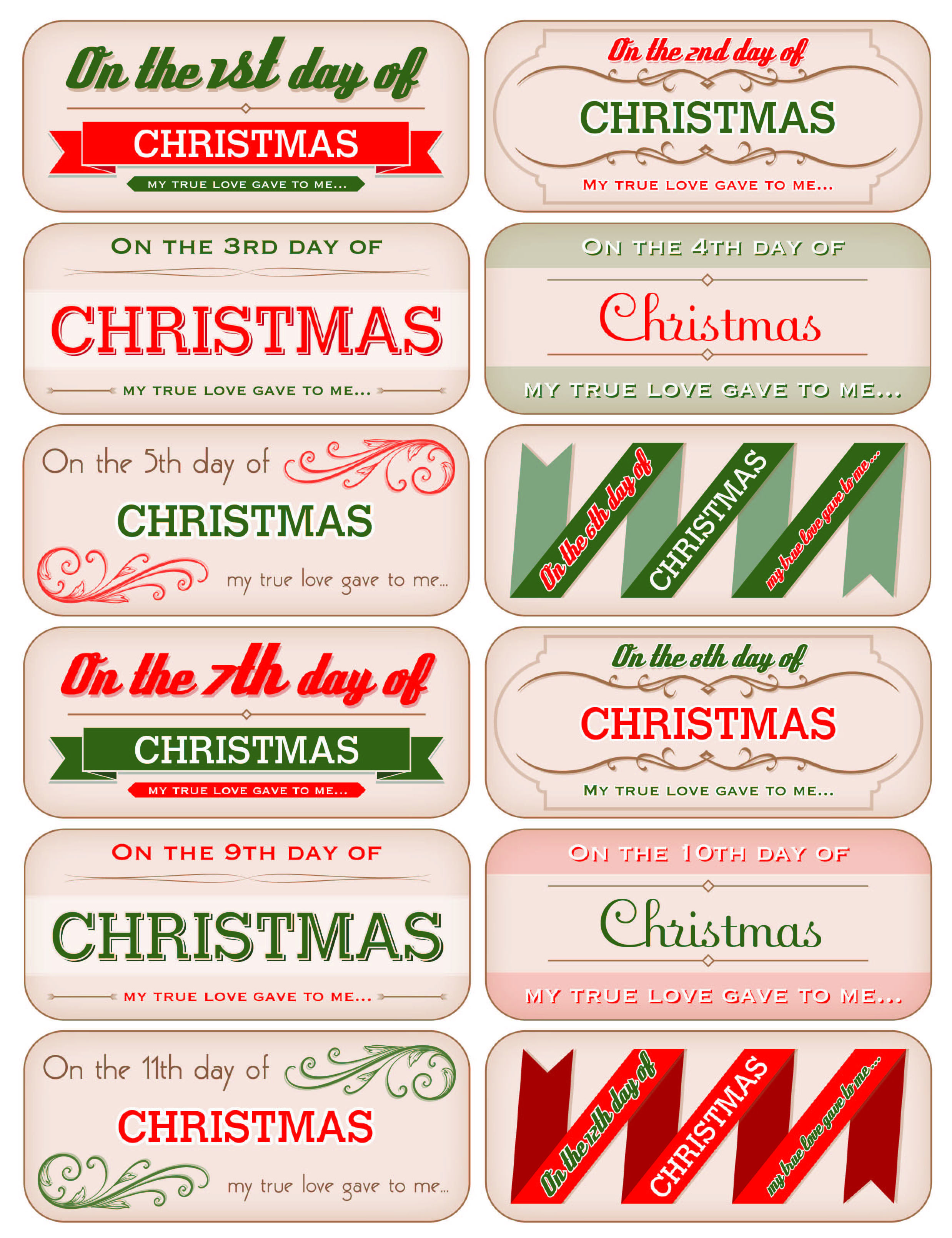 12 Days Of Christmas Tags
