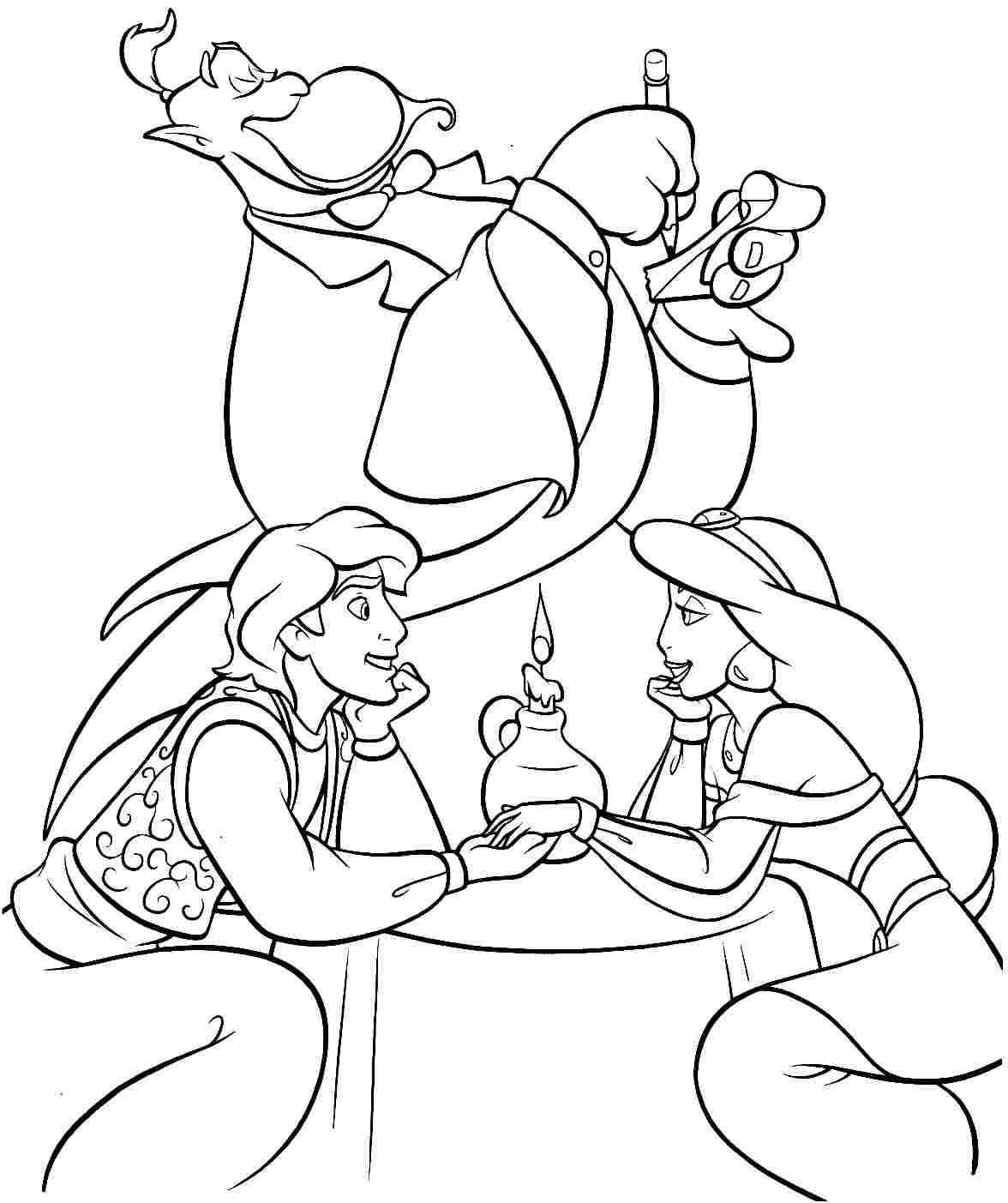 Free Printable Disney Princess Aladdin Colouring Pages For