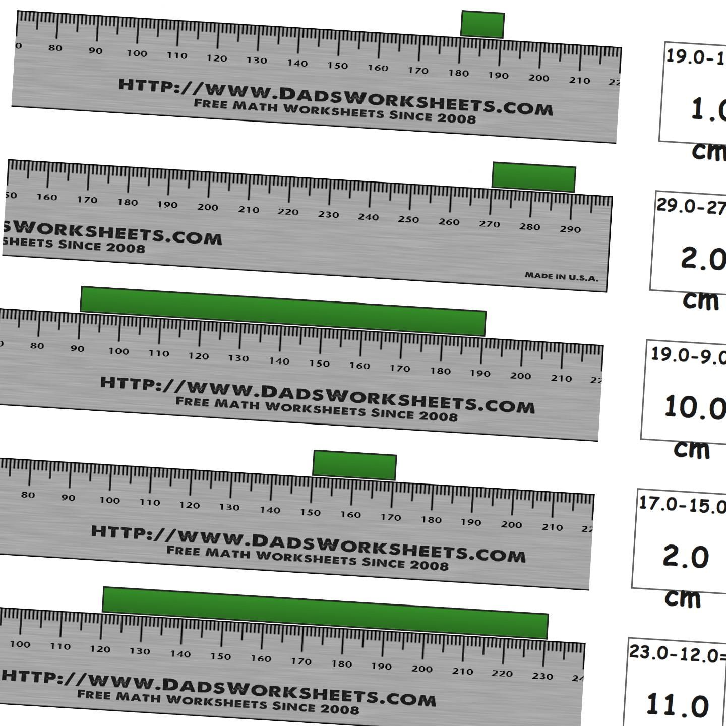 Worksheets For Measuring Length On A Metric Ruler From Whole Centimeters