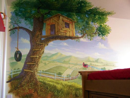 Children Tree Mural Kid S Treehouse Muralpainted Muralural Painting By Billy