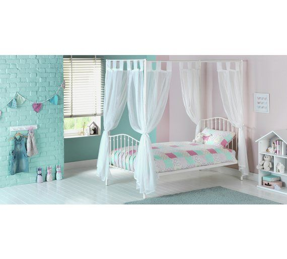 Home Metal 4 Poster Bed With Ashley Mattress Cream At Argos Co